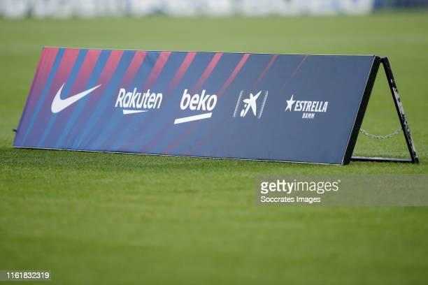 Sponsors from FC Barcelona Nike, Rakuten, Beko, Estrella Damm during the Club Friendly match between FC Barcelona v Arsenal at the Camp Nou on August...