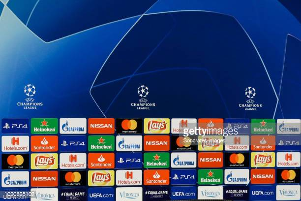 Sponsors of the UEFA Champions League during the Training Ajax at the De Toekomst on August 21, 2018 in Amsterdam Netherlands
