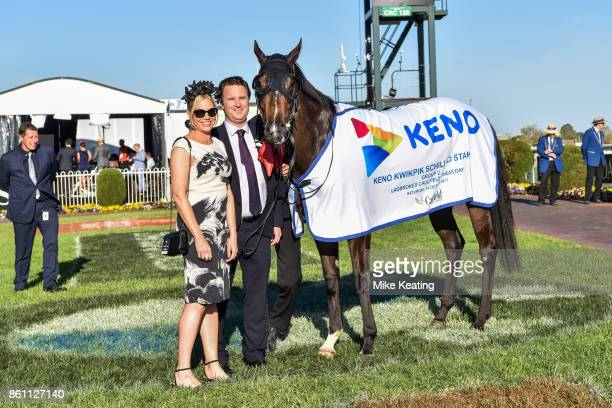 Sponsors Skye Simons and Ben Simons with Super Cash after winning the Keno Kwikpik Schillaci Stakes at Caulfield Racecourse on October 14 2017 in...