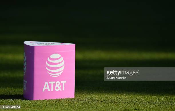 A sponsors tee marker in pink to mark mothers day is seen during the continuation of the weather delayed third round at the ATT Byron Nelson at...
