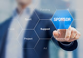Sponsorship concept on business presentation with sponsor in the background