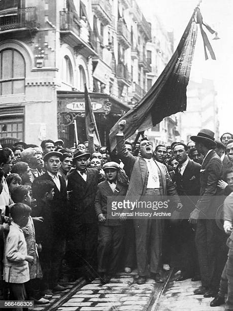 Spontaneous street demonstration in support of the republic in Spain 1931