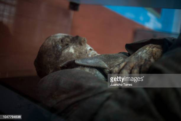 A spontaneously mummified body is displayed at the San Bernardo cemetery on September 30 2018 in Cundinamarca Colombia The mysterious spontaneous...