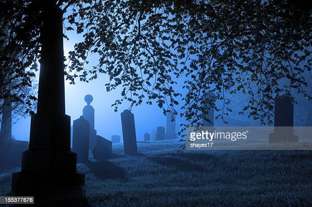 spooky blue graveyard - cemetery stock pictures, royalty-free photos & images