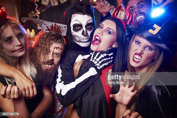 Spooky costumes of party people. Debica, Poland