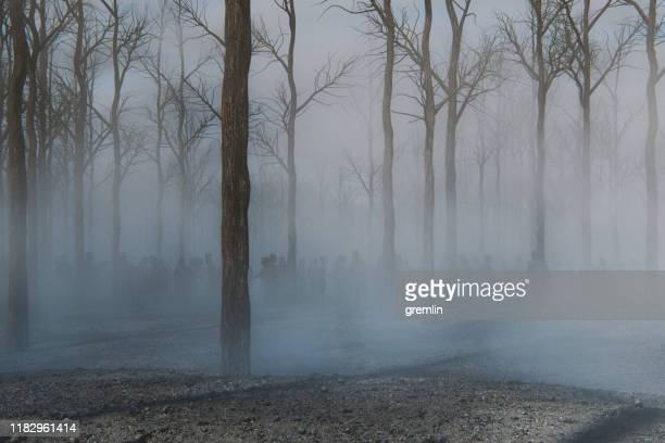 spooky foggy forest full of walking dead zombies - dead stock pictures, royalty-free photos & images