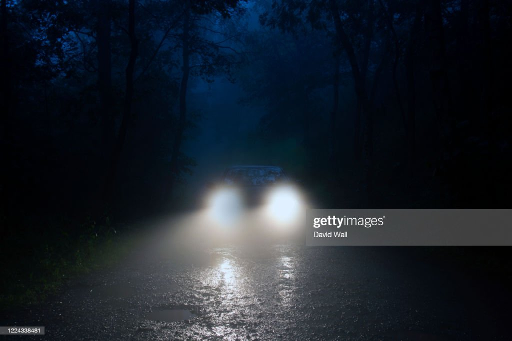 A spooky forest road with car headlights shining through the fog. : Stock Photo