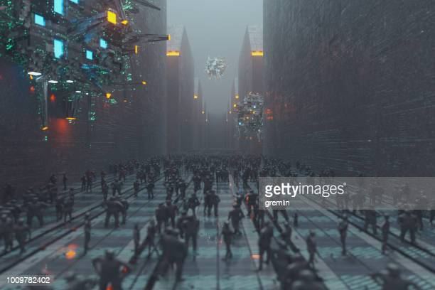 spooky futuristic city at night - doom patrol stock photos and pictures