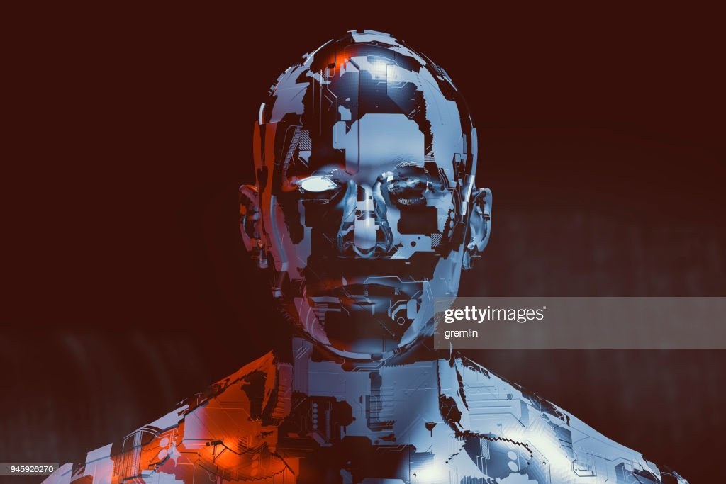 Spooky futuristic male cyborg : Stock Photo