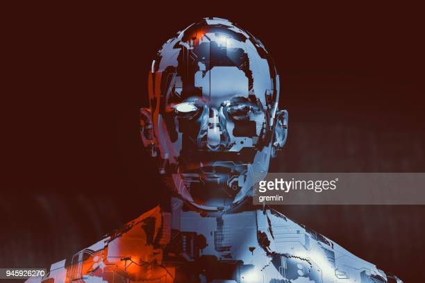 spooky futuristic male cyborg - evil stock pictures, royalty-free photos & images
