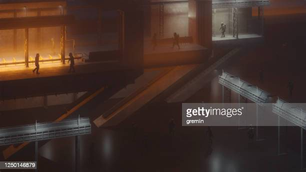 spooky futuristic street with people in hazmat suits - nuclear fallout stock pictures, royalty-free photos & images
