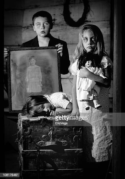 spooky ghost children posing, black and white - dead girl stock pictures, royalty-free photos & images