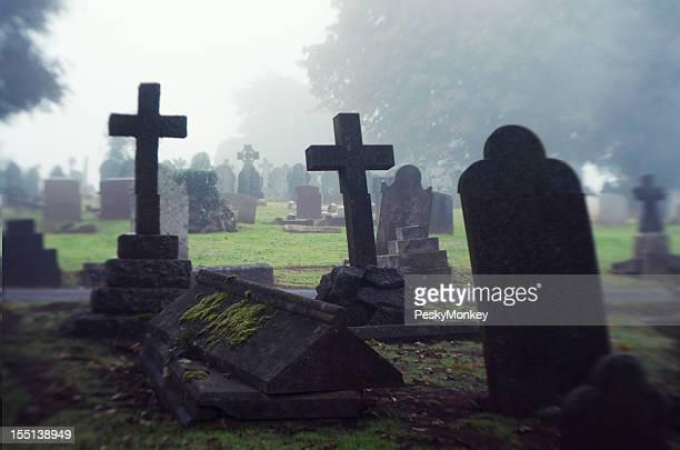 Spooky Halloween Misty Cemetery Scene Gravestones