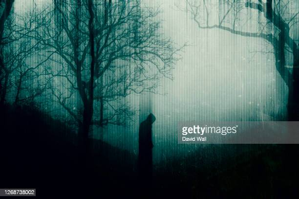 a spooky hooded figure standing in a forest. with a blurred, glitch abstract edit - mystery stock pictures, royalty-free photos & images