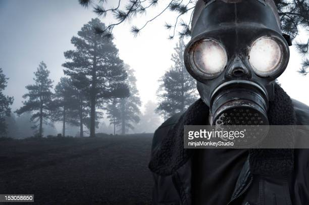 spooky masked character in ethereal woods - gas mask stock pictures, royalty-free photos & images