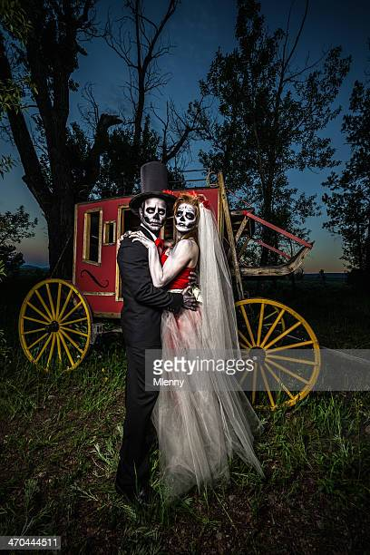 spooky skeleton wedding couple halloween - monster fictional character stock pictures, royalty-free photos & images