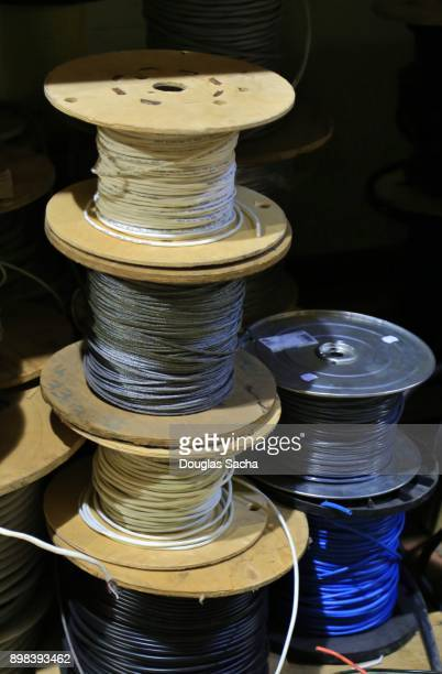 Spools of commercial wire on an electrical construction site