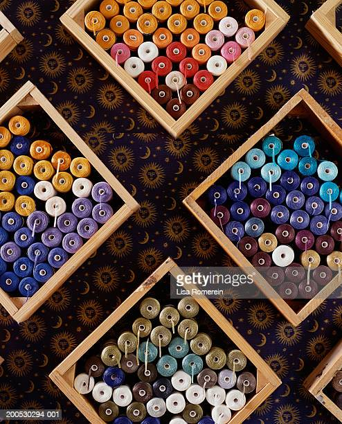 spools of thread in sewing shop - monrovia california stock pictures, royalty-free photos & images