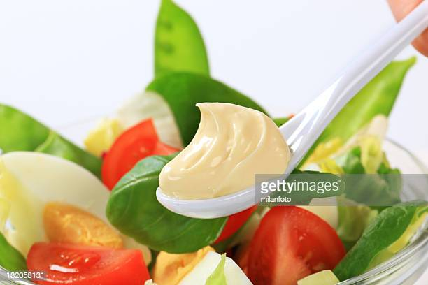 spoon of mayonnaise - mayonnaise stock pictures, royalty-free photos & images
