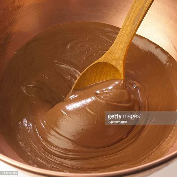 Spoon stirring chocolate