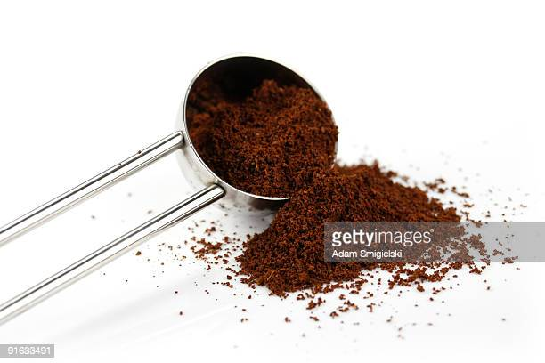 spoon with coffee - ground coffee stock photos and pictures