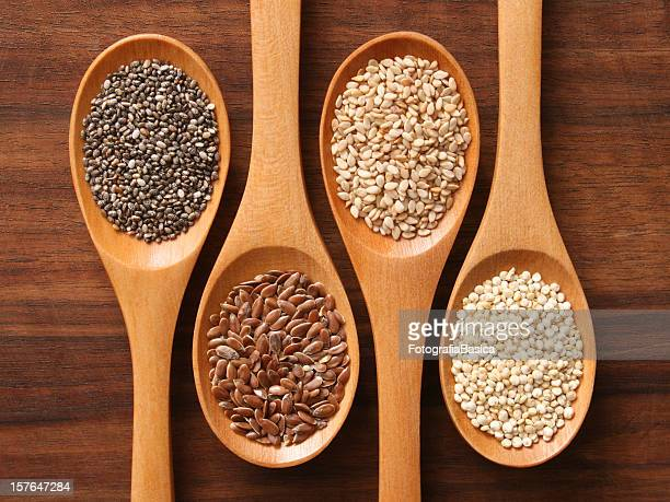 Spoons and healthy seeds