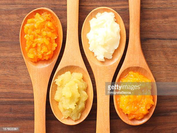 spoons and purees - pureed stock photos and pictures