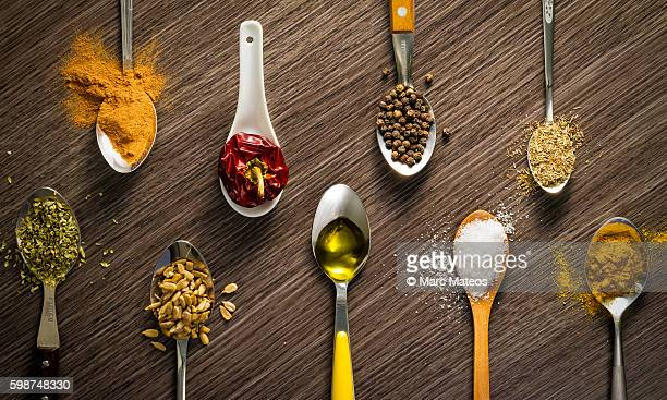 Spoons filed with spices from the world