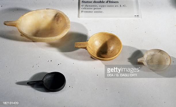 Spoons in the shape of beaks alabaster limestone and schist from ElZawiyet Maiyitin Egyptian civilisation Old Kingdom Dynasty VI Paris Musée Du Louvre