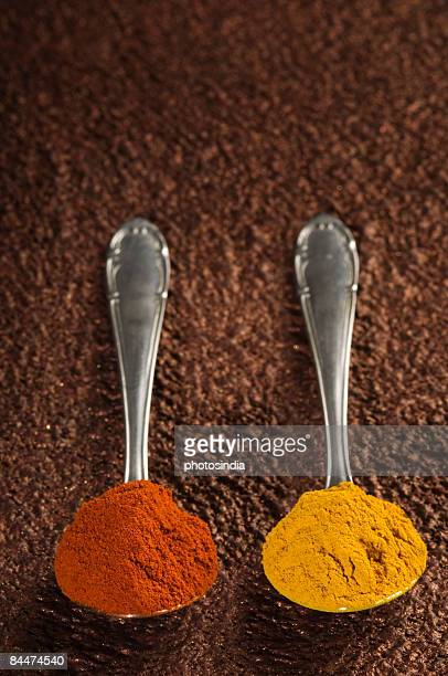 Spoons of paprika and ground turmeric