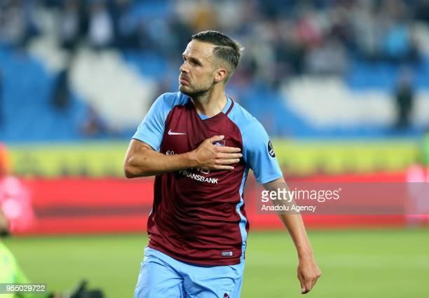 Spor Toto Süper Ligin 32 haftasnda Trabzonspor ile Kasmpaa Medical Park Stadnda karlat Trabzonsporlu futbolcu Novak gol sevinci yaad