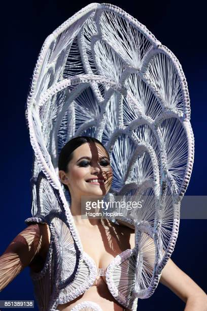 'Sporadica' by Renee Louie of New Zealand is modelled in the Avantgarde Section during the World of WearableArt Awards 2017 at TSB Bank Arena on...