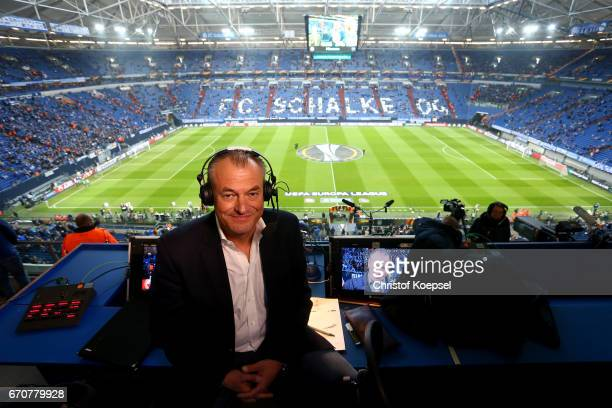 Sport 1 television commentator Markus Hoehner poses priot to the UEFA Europa League quarter final second leg match between FC Schalke 04 and Ajax...