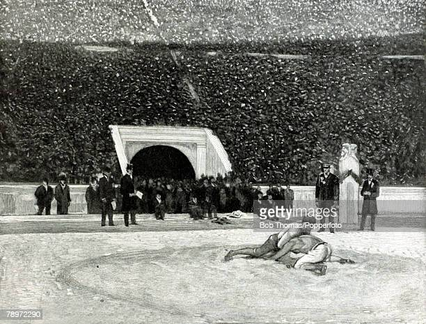Sport 1896 Olympic Games Athens illustration This illustration shows the wrestling contest in progress in front of a capacity crowd The 1896 Olympic...