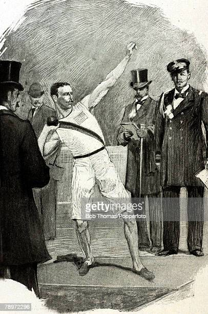 Sport, 1896 Olympic Games, Ilustration, This illustration shows the Shot put winner Robert Garrett in action, The 1896 Olympic Games were the first...