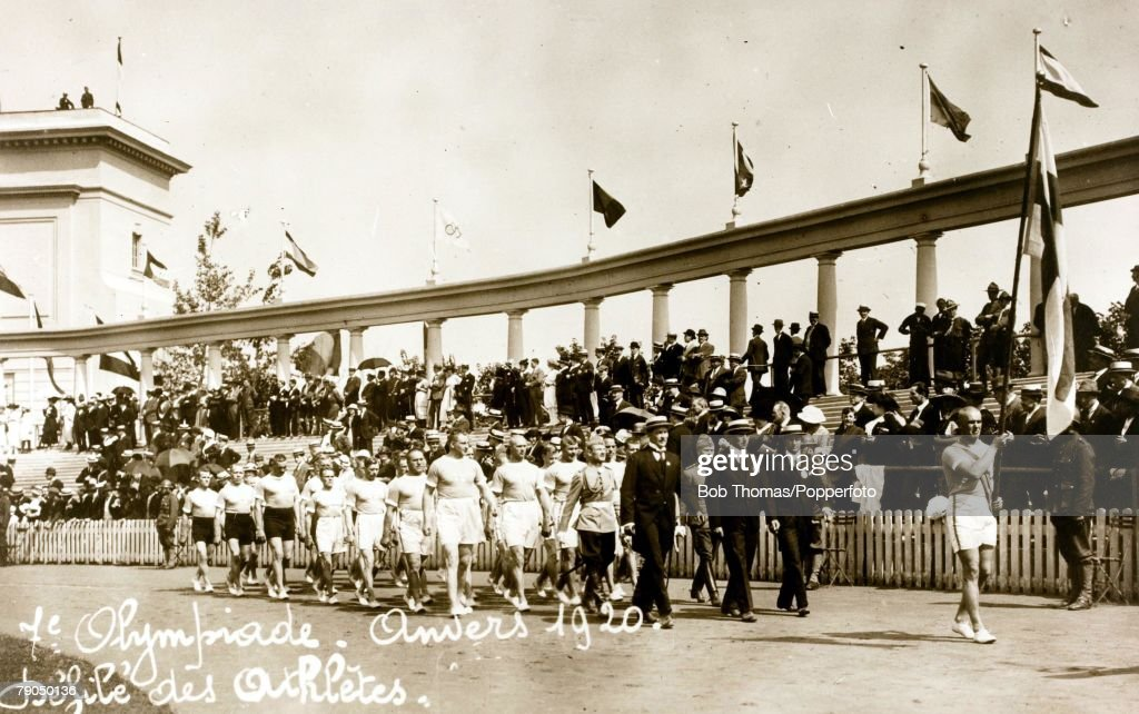Sport. 1920 Olympic games. Antwerp, Belgium. A picture of the opening ceremony, showing the team of athletes from Finland as they enter the arena. : News Photo
