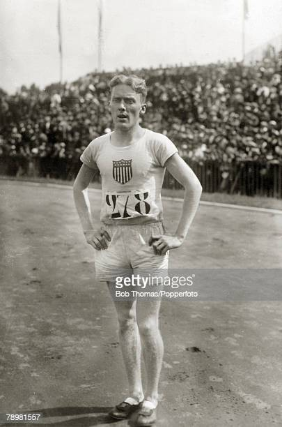 Sport 1924 Olympic Games in Paris Mens 400 metres Hurdles FMorgan Taylor the Gold medal winner in the 400 metres Hurdles Taylor won in a world record...