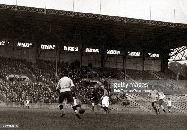 Sport 1924 Olympic Games Paris France Football SemiFinal Stade Colombes 6th June 1924 Uruguay 2 v Holland 1 Action from the game