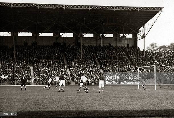 Sport 1924 Olympic Games Paris France Football Stade Colombes 1st June 1924 Uruguay 5 v France 1 Action from the game with a penalty area incident