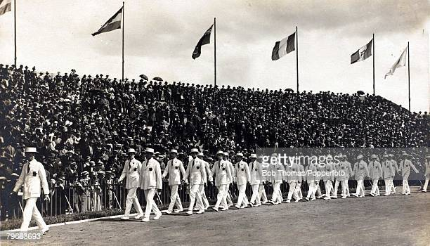 Sport, 1924 Olympic Games, Paris, The Canada team marching in the stadium at the Opening Ceremony