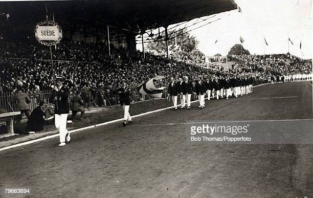 Sport 1924 Olympic Games Paris The Sweden team marching past the Grandstand at the Opening Ceremony