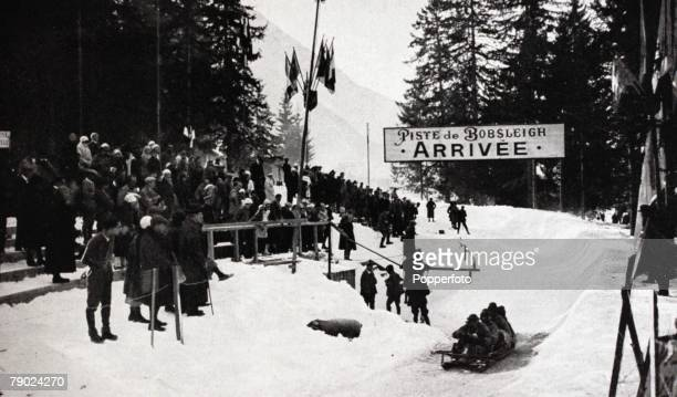 Sport 1924 Winter Olympic Games Chamonix France A general view at the Bobsled track with the Italy four man bobsled pictured