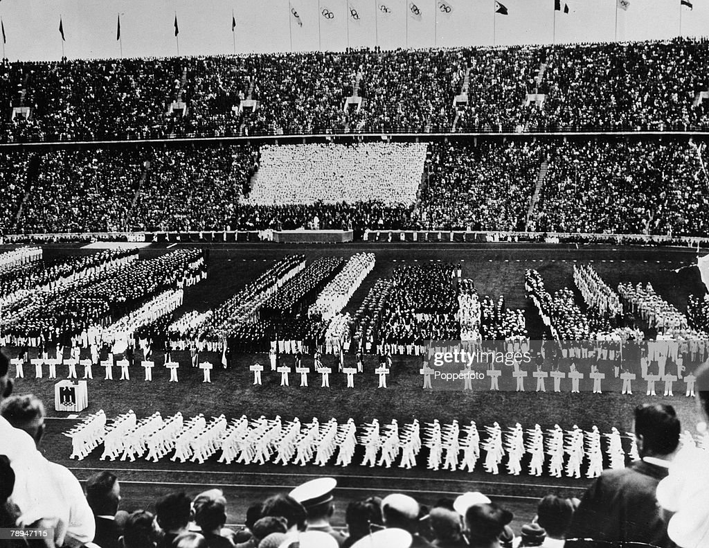 Sport. 1936 Olympic Games. Berlin, Germany. General view of the Opening Ceremony as the competing nations fill the stadium. : News Photo