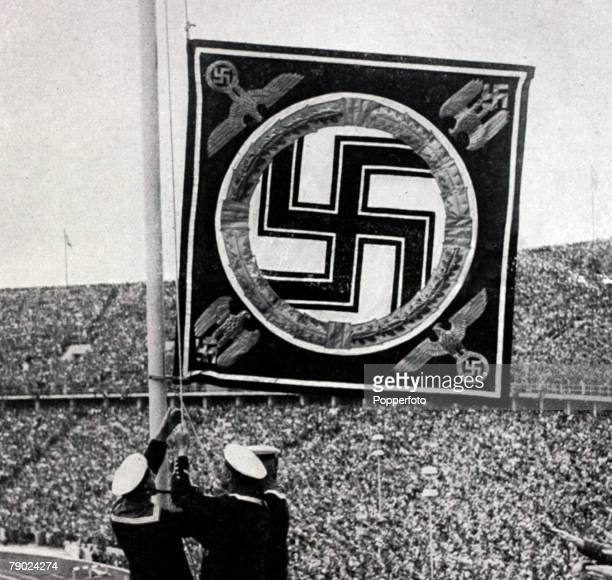 Sport 1936 Olympic Games Berlin Germany The Nazi German flag is hoisted over the stadium for an Olympic Games which Adolf Hitler used to promote...