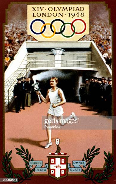 Sport 1948 Olympic Games London England An artists impression depicting the arrival of the Olympic torch at Wembley stadium during the opening...