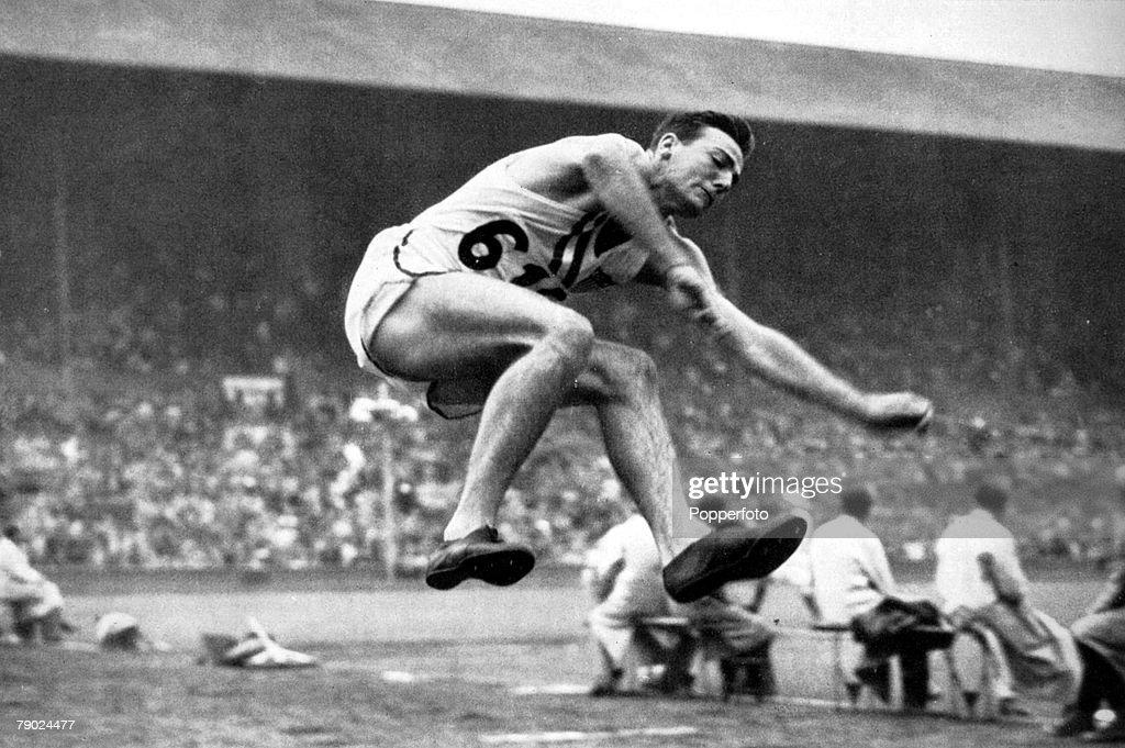 "Sport. 1948 Olympic Games. London, England. Athletics. Decathlon, Long Jump. U.S.A.'s Robert ""Bob"" Mathias, the Decathlon Gold medal winner competing in the long jump discipline. : News Photo"