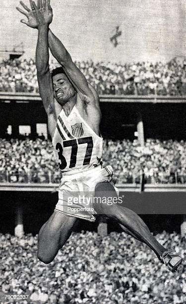 Sport, 1956 Olympic Games, Melbourne, Australia, Mens Long Jump, Gregory Bell, U,S,A, the Long Jump Gold medalist
