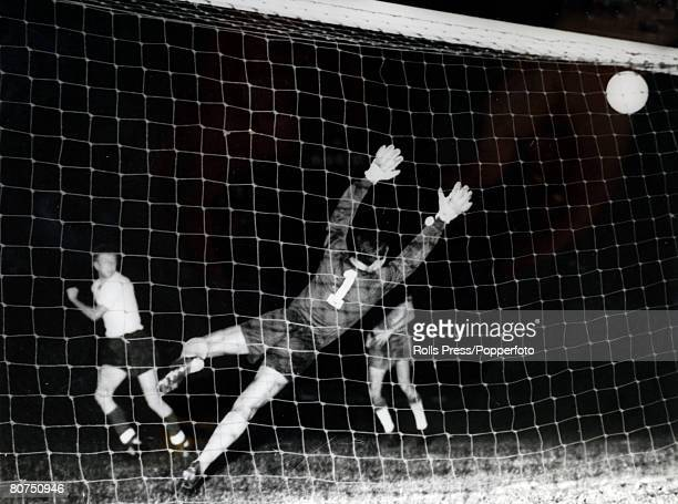 Sport 1960 Olympic Games in Italy Livorno Football PIC August 1960 Brazil 3 v Great Britain 0 Great Britain goalkeeper Pinnes is beaten by Brazil's...