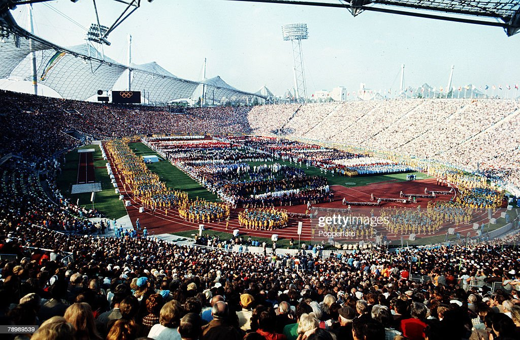 Sport. 1972 Olympic Games in Munich. A general view of the Opening Ceremony in the Olympic Stadium. : News Photo