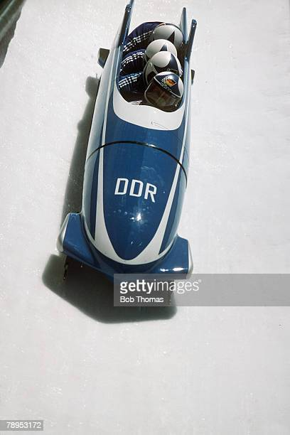 Sport 1988 Winter Olympic Games Calgary Canada 4 Man Bobsleigh East Germany I the Silver medal winners Hoppe Schauerhammer Musiol Voge